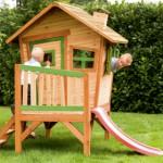 Houten speelhuisje voor in de tuin | met glijbaan