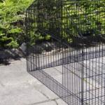 Konijnenren - kippenren Louis - zwarte draadkooi, met zonnescherm