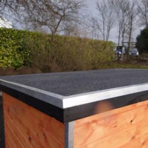 Voor- en zijkant van het dak van hondenhok Base zijn voorzien van aluminium randen