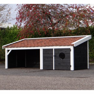 Schuilhok Rex zwart/wit geschikt voor: Honden, Geiten, Schapen, Varkens. 400x182x163cm