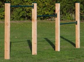 Duikelrek triple Groen duikelstangen 125cm 4 douglas houten palen 240cm