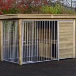 Hondenkennel FIX met houtkader, luxe dak en nachthok Block