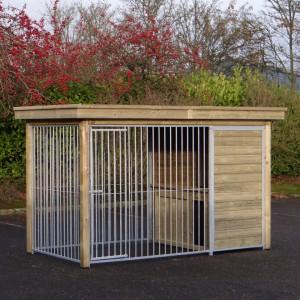 Hondenkennel FIX met houtkader, luxe dak en nachthok Block 352x190cm