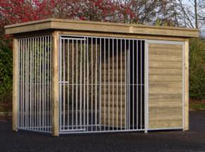 Hondenkennel FIX met houtkader en luxe dak 352x190cm