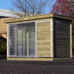 Hondenkennel FIX met houtkader, houten vloer, luxe dak en nachthok Block 352x190cm