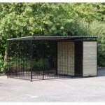 Hondenkennel FIX Zwart met dak 4x2m
