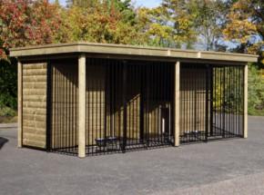 Hondenkennel COMPART met 2 nachthokken, vlondertjes en voederstellen 566x240x222cm
