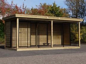 Hondenkennel FERM zwart met houtkader, houten vloer, geïsoleerd nachthok en Luxe daksysteem 566x240x234cm