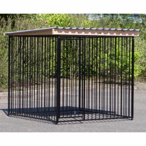 Hondenkennel FLINQ Zwart met dak Extra dougls 235x220m