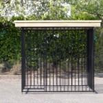 Hondenkennel FLINQ Zwart met dak Luxe - vuren hout - 2x2m
