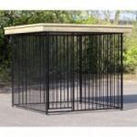 Hondenkennel FLINQ Zwart met dak Luxe - vuren hout 234x224cm