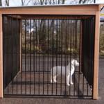 Zijkant hondenkennel FLINQ zwart met dak en Douglas houtkader