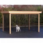 Hondenkennel FLINQ zwart met luxe dak en Douglas houtkader 351x240cm