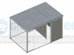 Kunststof hondenkennel FIX met dak 3x2m
