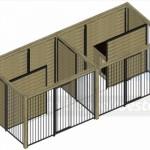 Bovenaanzicht kennel Compart 2 - 5x2m