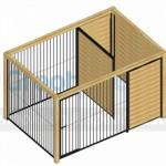 Bovenaanzicht Kennel Fix zwart 3x2 met douglas houtkader