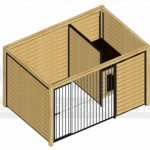 Bovenaanzicht kennel Forz zwart 3x2 met douglas houtkader en nachthok