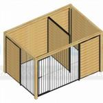 Kennel Forz zwart 3x2 met half open zijkant