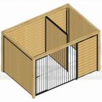 Bovenaanzicht kennel Forz zwart 3x2 met douglas houtkader