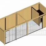 Bovenaanzicht kennel Forz 6x2 met houtkader en nachthok