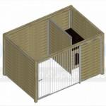 Bovenaanzicht kennel FORZ 3x2 met nachthok en houtkader