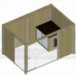 Bovenaanzicht kennel Forz 3x2 met houtkader, nachthok en half open zijkant