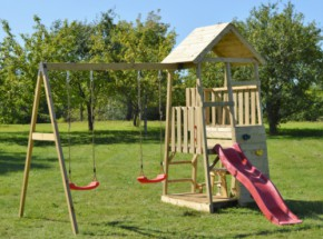 Speeltoren Junior Activity Tower met glijbaan, schommel, picknickset en zandbak JoyPet