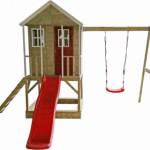 Speelhuisje Nordic Adventure House met glijbaan en schommel