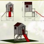 Afmetingen Speelhuis My Lodge met glijbaan - plateauhoogte 90cm