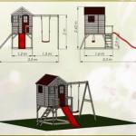 Speelhuis My Lodge met glijbaan en schommel - plateauhoogte 90cm