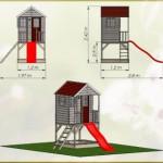 Afmetingen speelhuis Nordic Adventure House met glijbaan en zandbak
