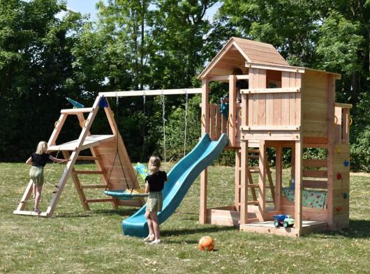 Luxe speeltoestel Palazzo inclusief glijbaan en @challenger Douglas houtpakket op maat Blue Rabbit
