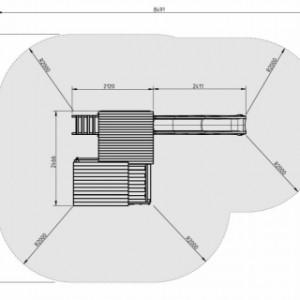 Bovenaanzicht speeltoren Palazzo met glijbaan