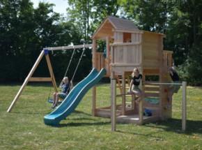 Luxe speeltoestel Palazzo inclusief glijbaan, schommel en duikelrekken Douglas houtpakket, op maat gezaagd Blue Rabbit