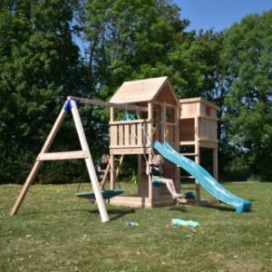 Groot speeltoestel Palazzo incl. schommel en glijbaan uitgevoerd in douglas-hout
