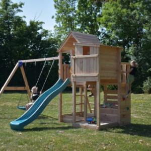 Houten speeltoestel Palazzo van Blue Rabbit, inclusief glijbaan & schommel