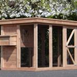 Douglas-houten kippenhok met extra grote ren