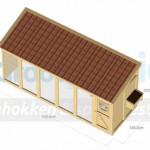 Voliere / kippenhok Flex 6.2 met inloop-sluis, 3 hokken, legnest en dakpannen dak