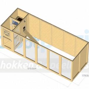 Volière / kippenhok Flex 6.2 met inloop-sluis, 3 hokken, legnest en luxe daksysteem