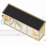 Kippenhok Flex 6.1+ met legnest en zwart geglazuurde dakpannen 570x145x235cm