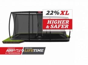 Trampoline BERG Ultim Elite Flatground Grijs - met veiligheidsnet DLX XL 500x300cm
