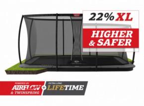Trampoline BERG Ultim Champion Flatground Grijs | met veiligheidsnet DLX XL | 410x250cm