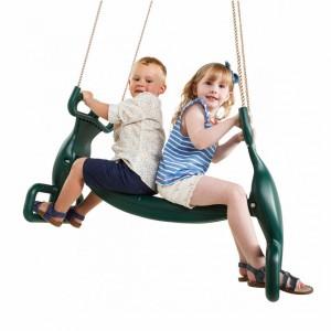 Duo-schommel Rug aan rug Groen • met PP-touw 2 persoons