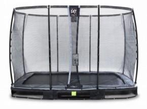 Trampoline EXIT Elegant Premium InGround Rectangular met veiligheidsnet Deluxe - 366x214cm - zwart