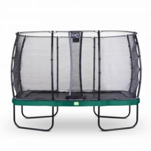Trampoline EXIT Elegant Rectangular met veiligheidsnet Economy - 366x214cm - groen