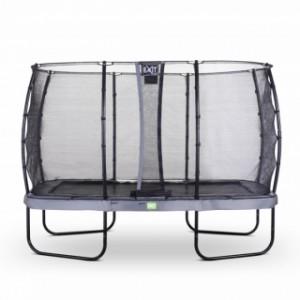 Trampoline EXIT Elegant Rectangular met veiligheidsnet Economy - 366x214cm - grijs