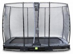 Trampoline EXIT Elegant InGround Rectangular met veiligheidsnet Economy - 366x214cm - zwart