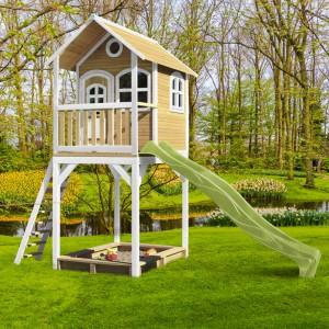 Speelhuis AXI  Romy Bruin-wit met glijbaan en zandbak | glijbaan limoengroen