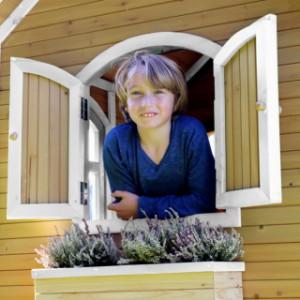 Speelhuis AXI  Romy Bruin-wit met glijbaan en zandbak