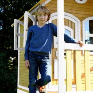 Speelhuis AXI  Romy Bruin-wit met glijbaan en zandbak | veranda